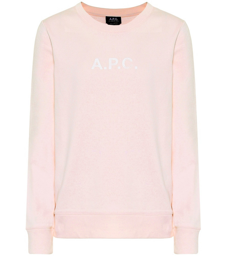 A.P.C. Logo cotton-jersey sweatshirt in pink