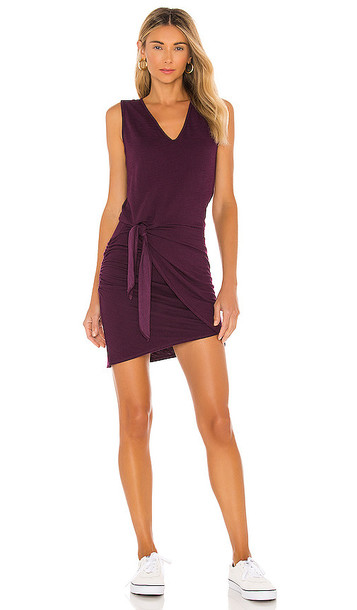 MONROW Supersoft Tank Dress With Tie in Wine in merlot