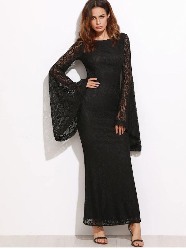 dress black dress boho goth big sleeves