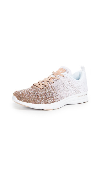 APL: Athletic Propulsion Labs TechLoom Pro Sneakers in gold / rose / white