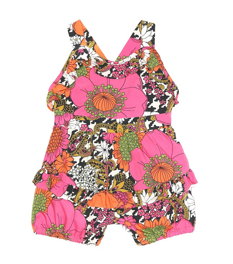 Gucci Kids Baby floral cotton playsuit in pink