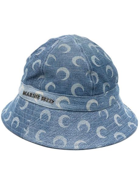 Marine Serre moon-print denim bucket hat in blue