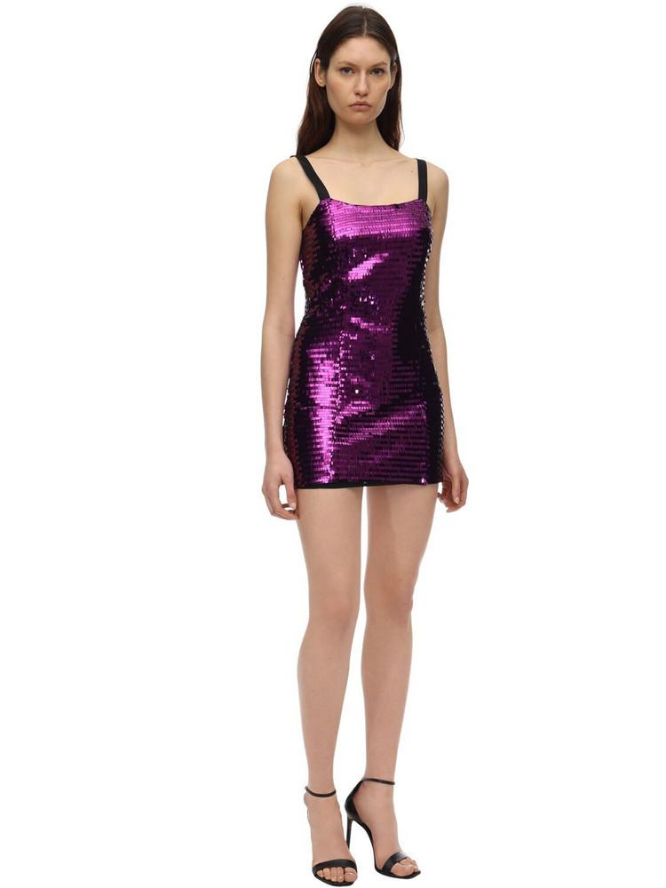 AMEN Sequined Mini Dress in purple