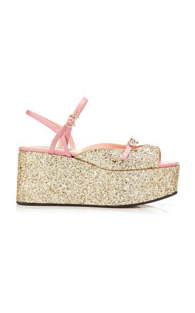 Rochas Glittered Satin Platform Sandals in gold