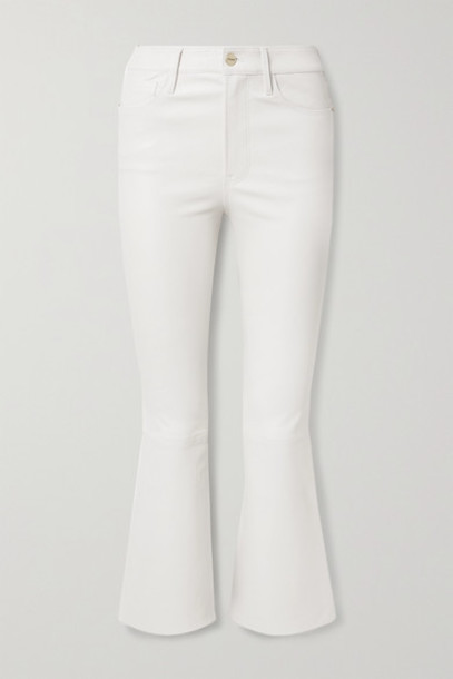 FRAME - Le Crop Mini Boot Leather Pants - White