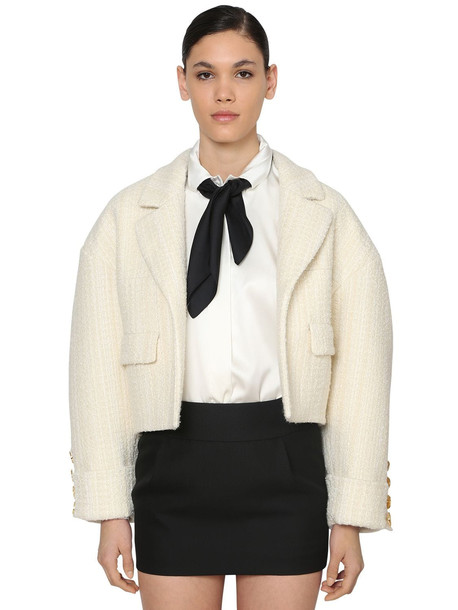 ALEXANDRE VAUTHIER Oversized Wool Tweed Crop Jacket in ivory