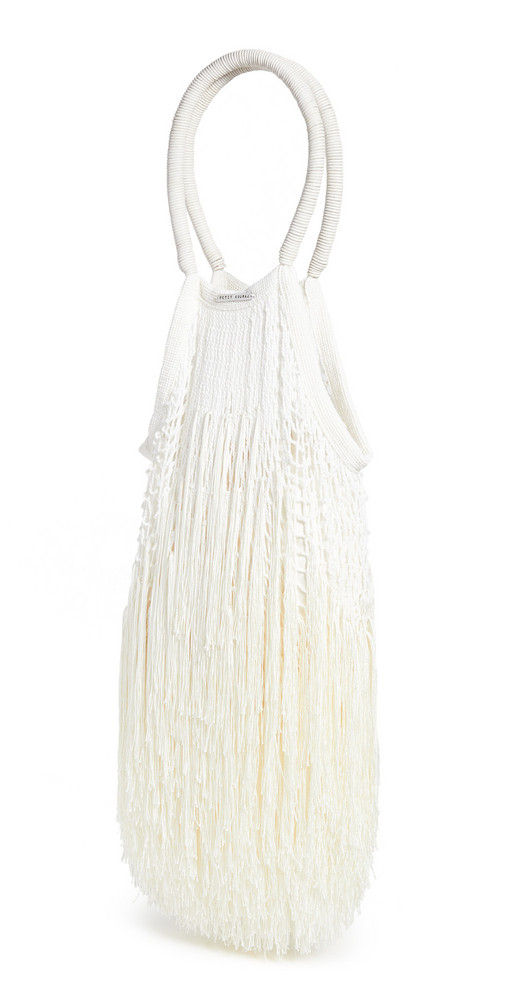 Petit Kouraj Large Fringe Shopper in white