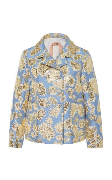 N°21 Aida Floral Jacquard Jacket in blue