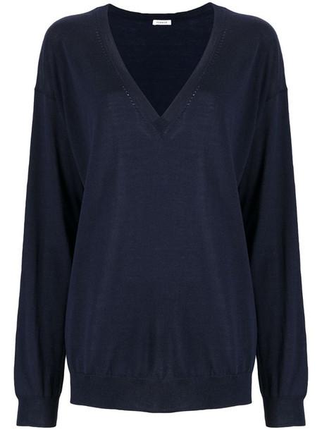 P.A.R.O.S.H. Lipster wool V-neck jumper in blue