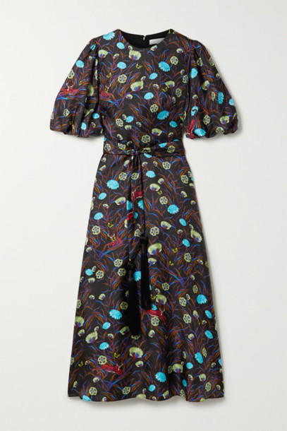 Borgo de Nor - Romini Belted Printed Silk-satin Twill Midi Dress - Black
