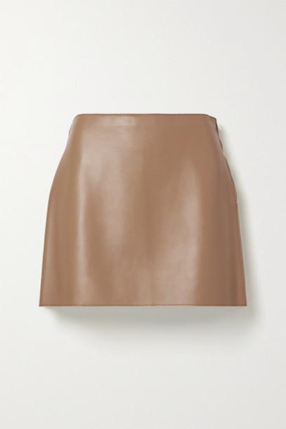 Theory - Leather Mini Skirt - Tan