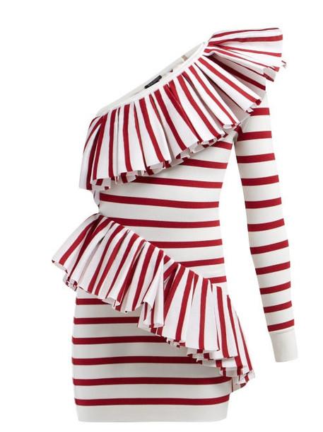 Balmain - Asymmetric Ruffle Trimmed Striped Mini Dress - Womens - Red White