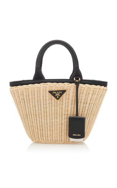 Prada Small Bi-Color Raffia Basket Bag in neutral