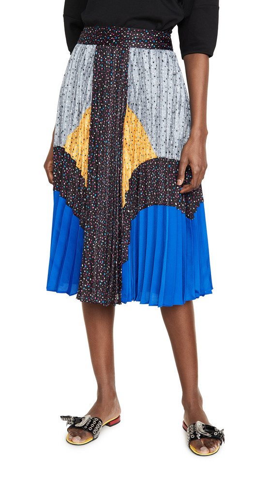 Coach 1941 Mix Pleated Skirt in black / blue / grey / yellow
