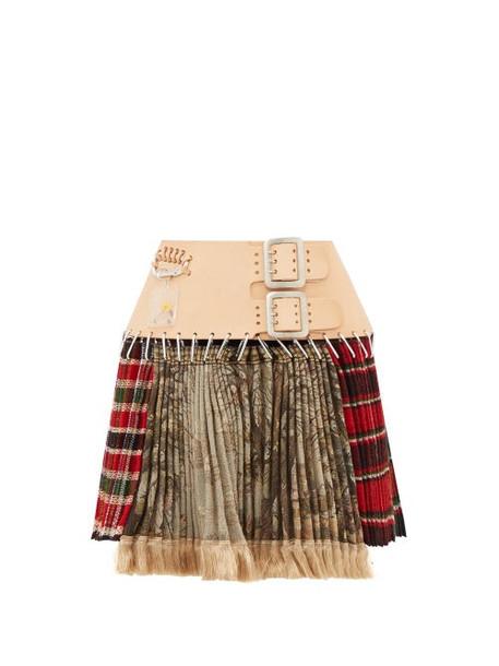Chopova Lowena - Tartan Recycled Tapestry Mini Skirt - Womens - Green Multi