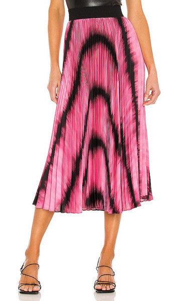 Alice + Olivia Alice + Olivia Katz Sunburst Pleated Midi Skirt in Pink