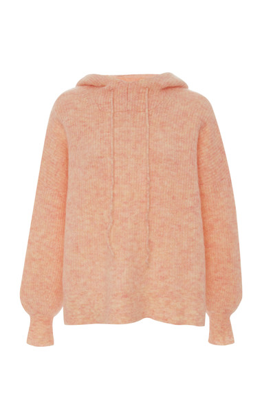 Ganni Ribbed Wool-Blend Hooded Top Size: XS in pink