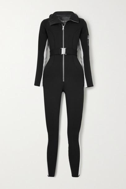 Cordova - Signature In The Boot Belted Striped Ski Suit - Black