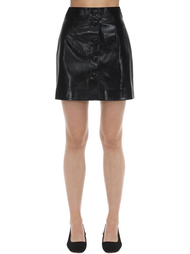 GEORGE KEBURIA Heart Button Faux Leather Mini Skirt in black