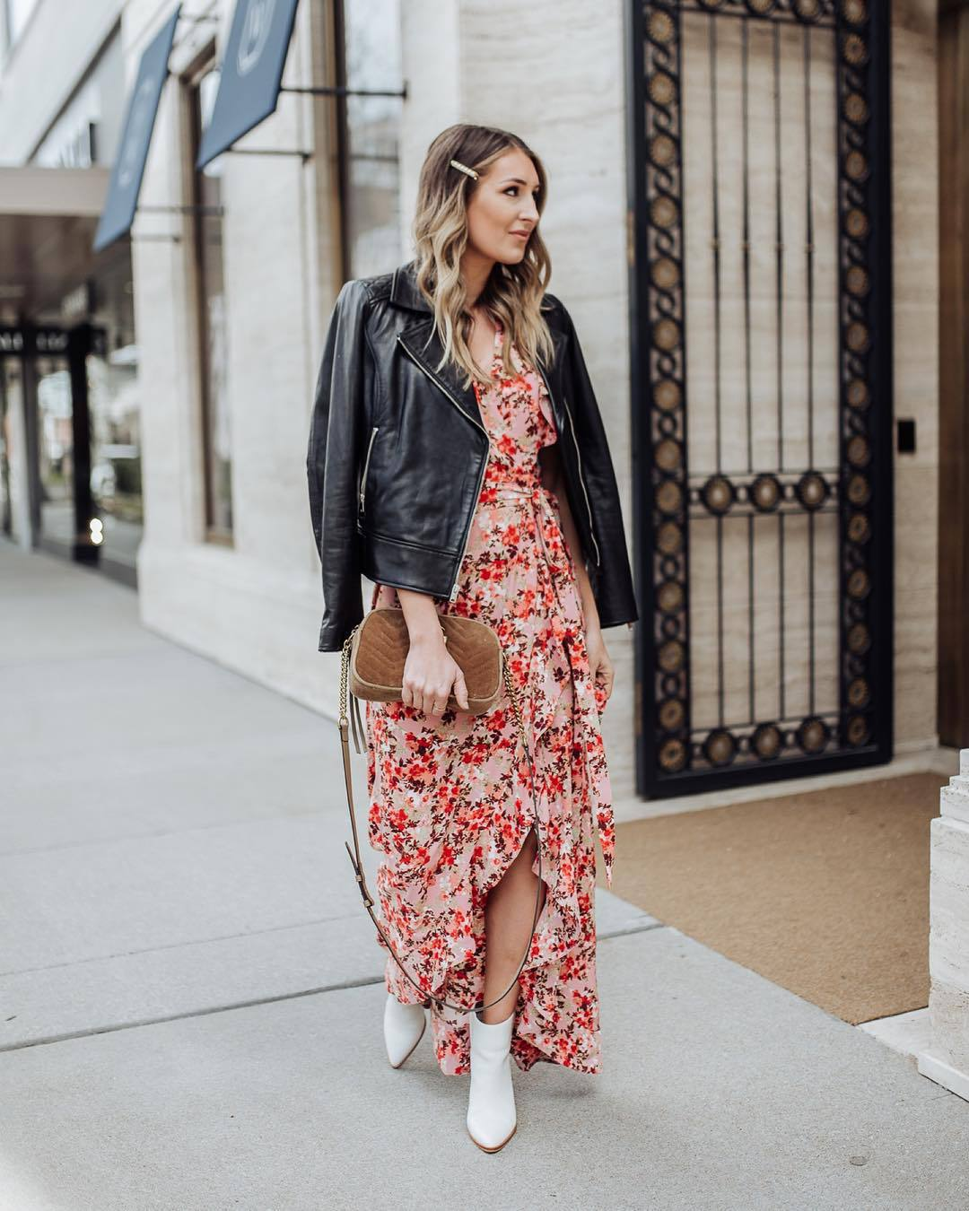 dress wrap dress floral dress white boots ankle boots brown bag black leather jacket