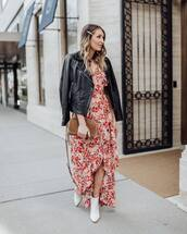 dress,wrap dress,floral dress,white boots,ankle boots,brown bag,black leather jacket