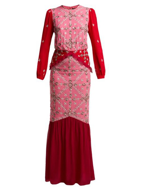 Saloni - Isa Sequinned Silk Georgette Dress - Womens - Pink Multi