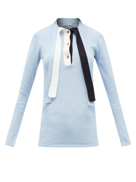 Palmer/harding Palmer//harding - Revan Tie-neck Cotton And Modal Jersey Sweater - Womens - Light Blue