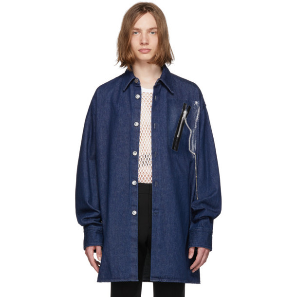 Raf Simons Navy Denim Zipper Big Shirt