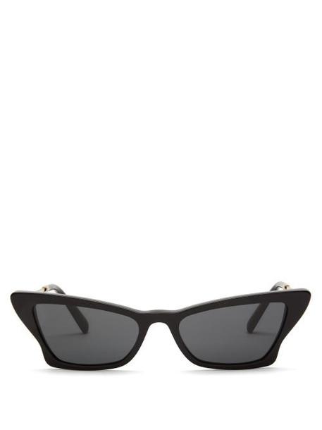 Valentino - Rockstud Cat Eye Acetate Sunglasses - Womens - Black