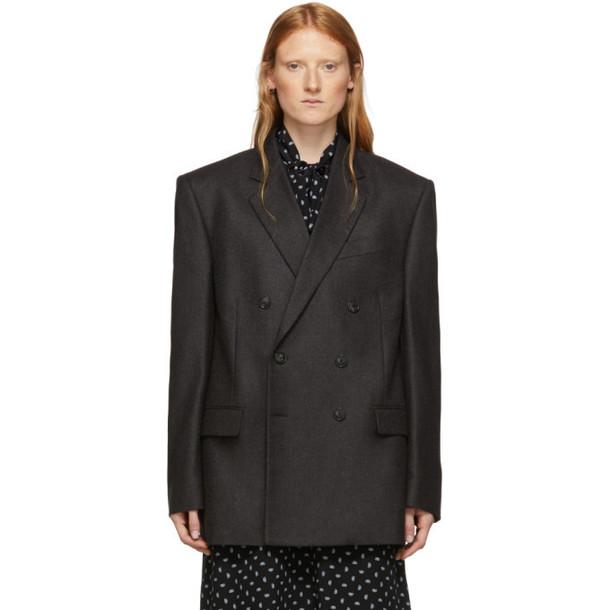 Balenciaga Grey Camel Hair Double-Breasted Blazer