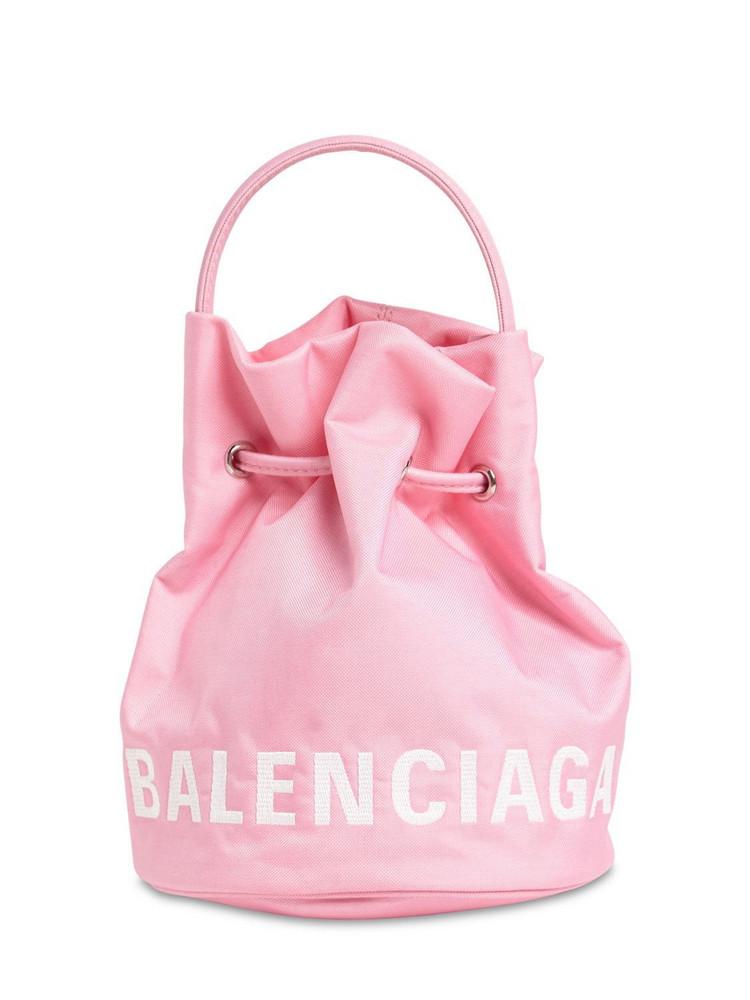 BALENCIAGA Xs Wheel Printed Nylon Bucket Bag in pink