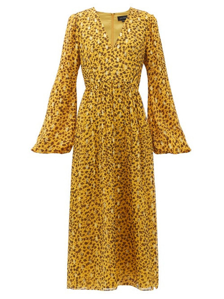 Saloni - Camille B Leopard-camo Print Silk-blend Dress - Womens - Leopard