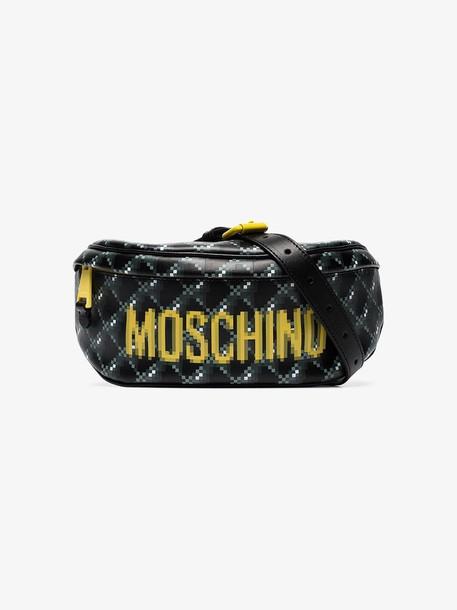 Moschino black blurred logo print leather belt bag