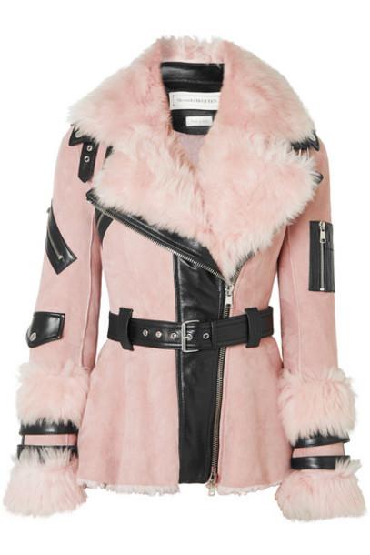 Alexander McQueen - Leather-trimmed Shearling Biker Jacket - Pink