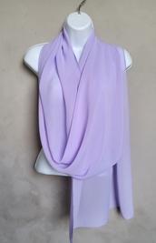 scarf,lavender scarf,sheer chiffon scarf