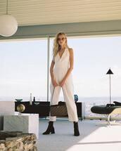 jumpsuit,white jumpsuit
