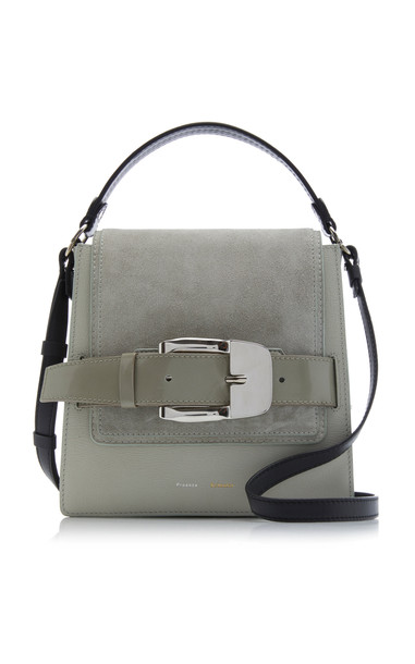 Proenza Schouler Buckle Trapeze Leather And Suede Shoulder Bag in grey
