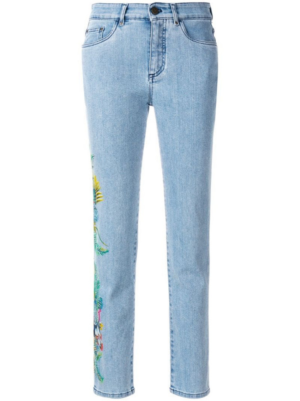 Mr & Mrs Italy cropped floral detail jeans in blue
