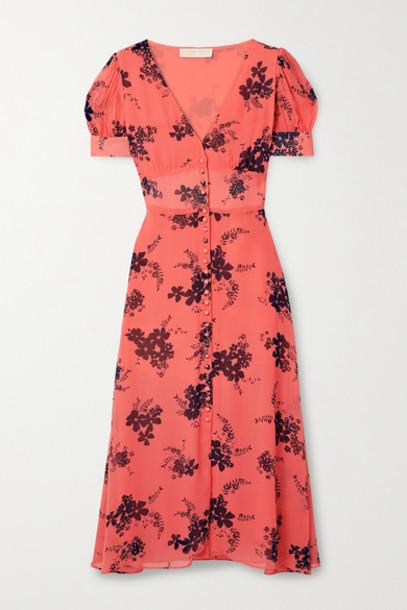 MICHAEL Michael Kors - Floral-print Crepe Midi Dress - Orange