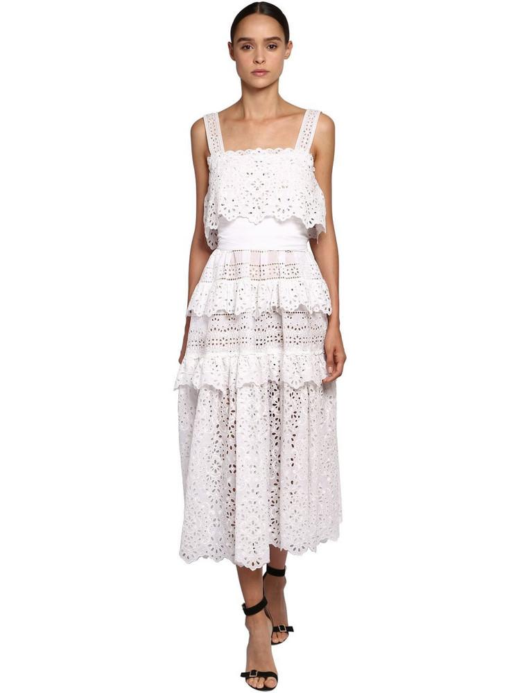 ELIE SAAB Cotton Lace & Poplin Long Dress in white