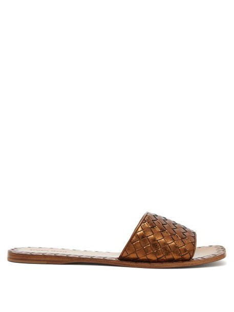 Bottega Veneta - Intrecciato Leather Slides - Womens - Bronze