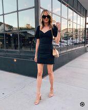 dress,black dress,short sleeve dress,puffed sleeves,denim dress,sandals,bag