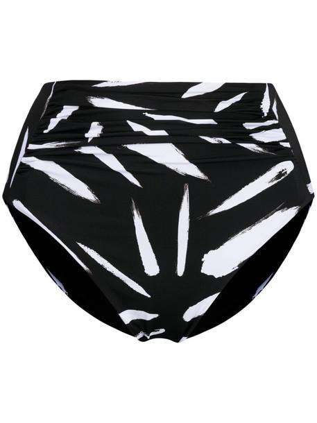 Self-Portrait abstract high-waisted bikini bottoms - Black