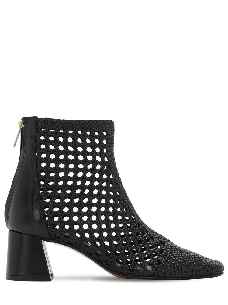 SOULIERS MARTINEZ 50mm Woven Leather Ankle Boots in black