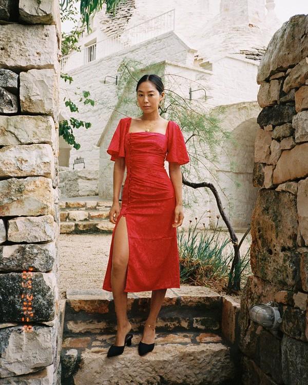 dress red dress midi dress slit dress short sleeve dress mules