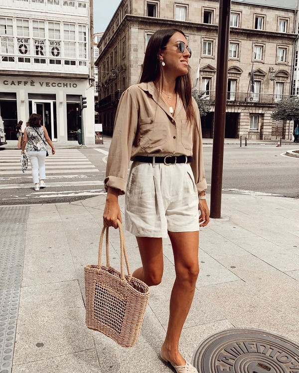 shorts white shorts shirt woven bag mules
