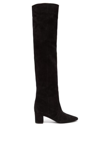 Saint Laurent - Lou Suede Over The Knee Boots - Womens - Black