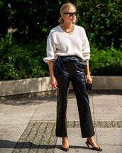 pants,black pants,leather pants,straight pants,slingbacks,leopard print,sweater