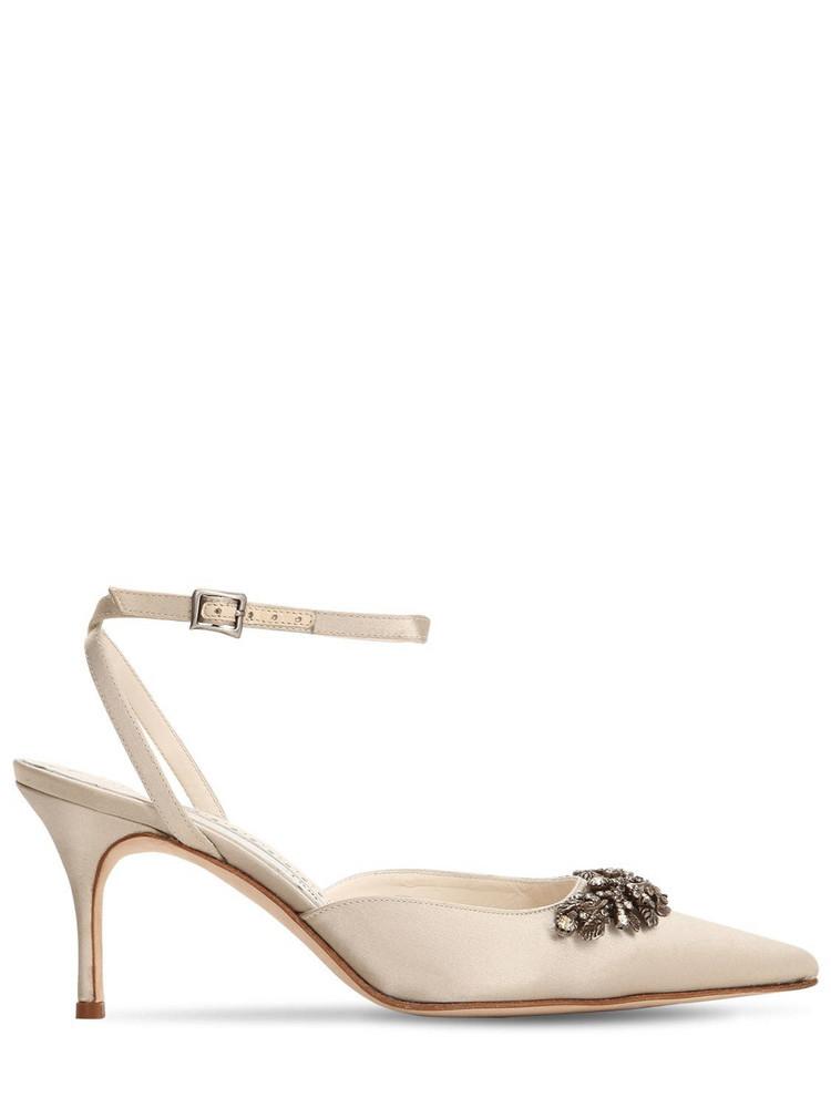 MANOLO BLAHNIK 70mm Forla Satin Sandals in grey