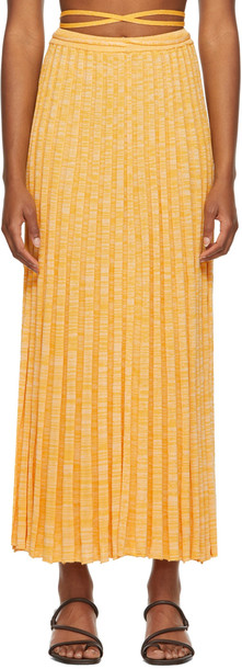 Christopher Esber Yellow Pleated Knit Tie Mid-Length Skirt